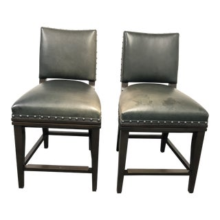 Mattaliano Bas Green Leather Armless Bar Stools - a Pair For Sale