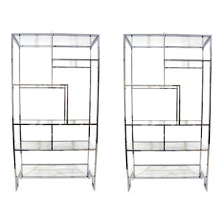 Pair of Milo Baughman Glass Shelf Etagere