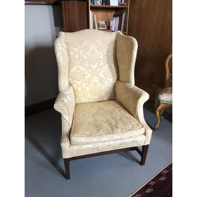 American Federal Style Yellow Jacquard Wingback Chair With Down Cushion For Sale - Image 13 of 13