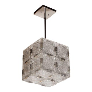 Mid-Century Modernist Pendant with Etched Glass and Chrome Fittings by Kinkeldy For Sale
