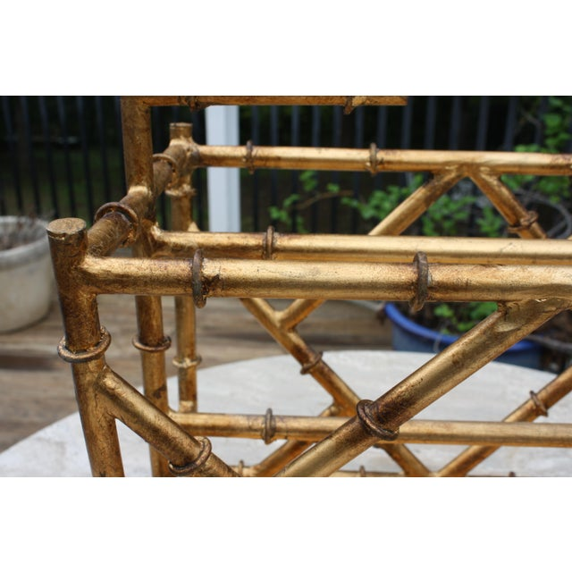 2000s Gilt Faux Bamboo Chinoiserie Style Magazine Rack For Sale - Image 5 of 11
