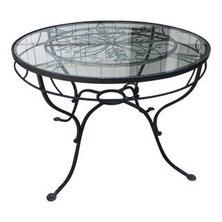 Vintage Salterini Style Neoclassical Glass Top Wrought Iron Garden Table For Sale