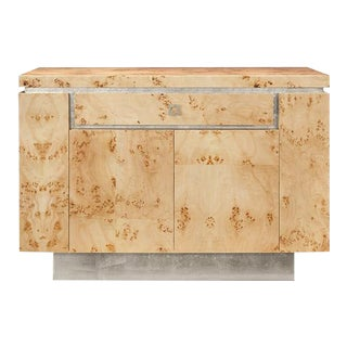 Worlds Away Shiloh Burl Wood Bar Cabinet With Silver Leaf Accents