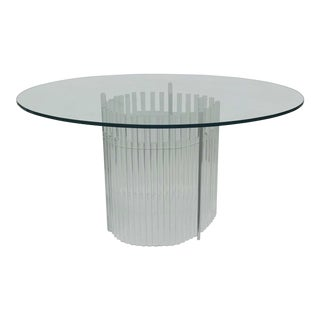 1980s Round Lucite Pedestal Dining Room Table For Sale