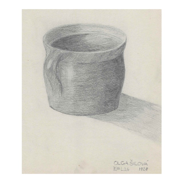 1928 Pottery Cup Still Life Drawing by Silova For Sale