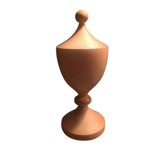 Vintage Custom Hand Turned Solid Wood Finial For Sale