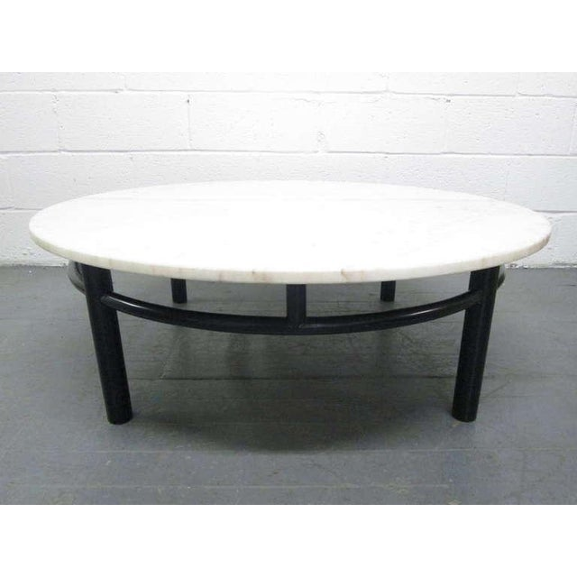 Edward Wormley for Dunbar Marble Top Coffee Table with a black lacquered base.