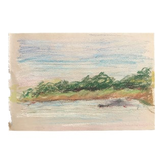 1980s Inga-Britta Mills European Pastel Landscape Drawing For Sale