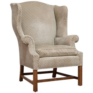 Chippendale Style Mahogany Framed Wing Chair by Baker For Sale