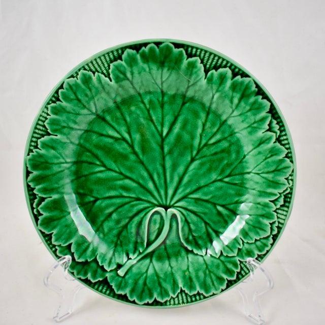 Wedgwood Majolica Green Glazed Cabbage Leaf & Basket Plate For Sale - Image 12 of 12