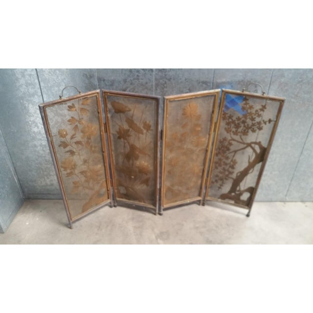 1950s Vintage Asian Gold 4-Panel Hinged Firescreen For Sale - Image 5 of 8