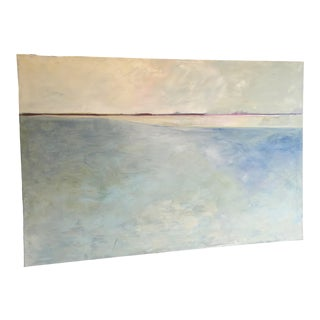 """Dusk Sky"" Large Abstract Landscape Water and Horizon, Blue, Pink, Meditative Oil Painting For Sale"