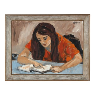 """Concord, Carla"" Portrait of a Woman Reading, Oil on Canvas, 1970 For Sale"