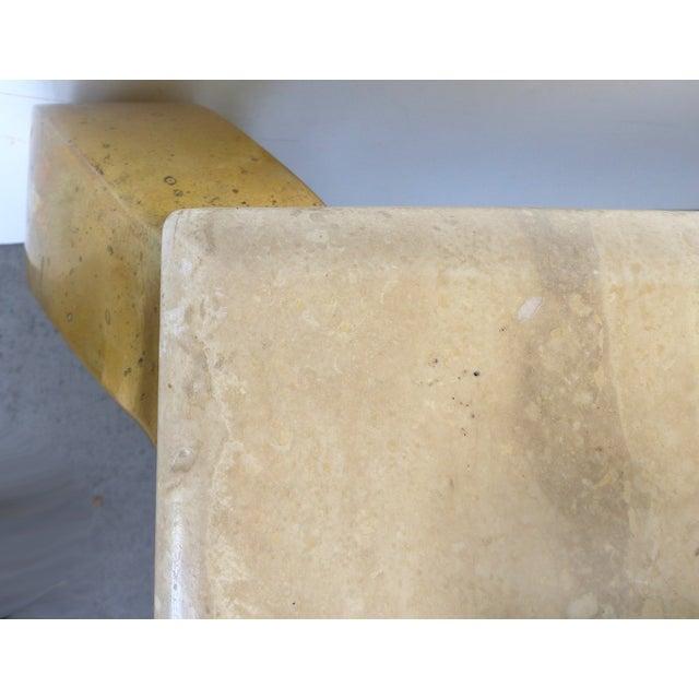 Mid-Century Modern Brass & Travertine Coffee Table - Image 8 of 9