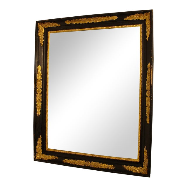 Black & Gold Empire Mirror - Image 1 of 6