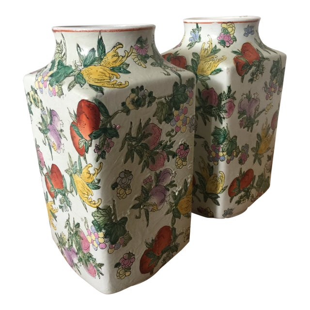 1970's Oriental Exotic Fruit Painted Vases - a Pair For Sale