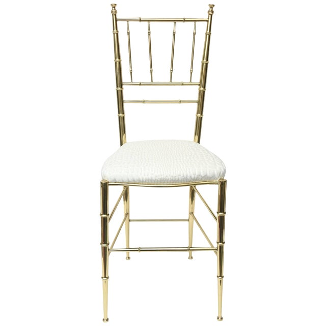 Vintage Mid Century Italian Chiavari Faux Bamboo Brass and Upholstered Side Chair For Sale
