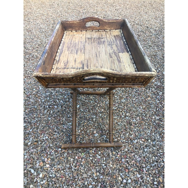1950s Boho Chic Tray Table With Folding Base For Sale - Image 4 of 10