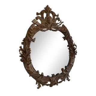 Antique Carved Walnut Mirror For Sale