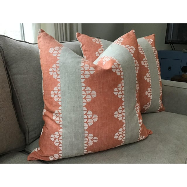 Another fabulous on trend fabric from Thibaut. Dhara Stripe is a hand blocked geometric design in soft sherbet orange...