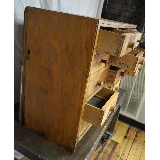 Vintage Handcrafted 15-Drawer Pine Storage Cabinet - Image 6 of 10