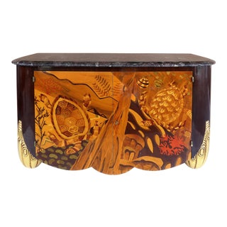 Italian Art Deco Style Marble Top Cabinet W/ Marquetry of Sea Turtles For Sale