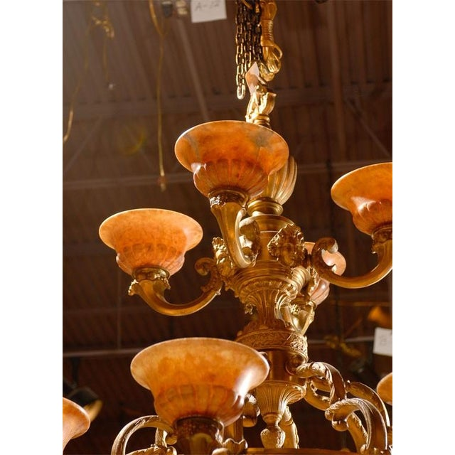 Antique Two-Tiered Gilt Bronze and Alabaster Chandelier - Image 4 of 7