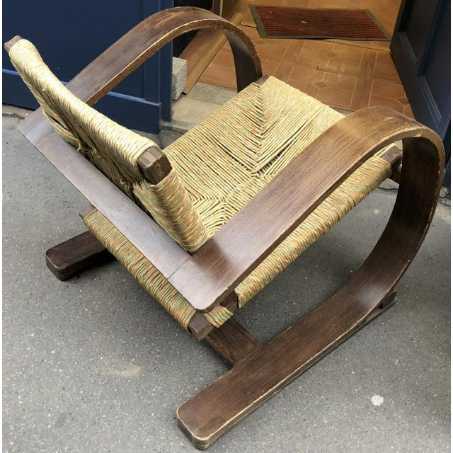 Adrien Audoux and Frida Minet Audoux Minet Pair of Bent Wood Lounge Chair With a Rare Rush Cover For Sale - Image 4 of 7