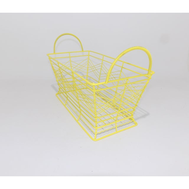 Contemporary Electric Yellow Bathroom Metal Wire Toiletries Catchall For Sale - Image 4 of 8