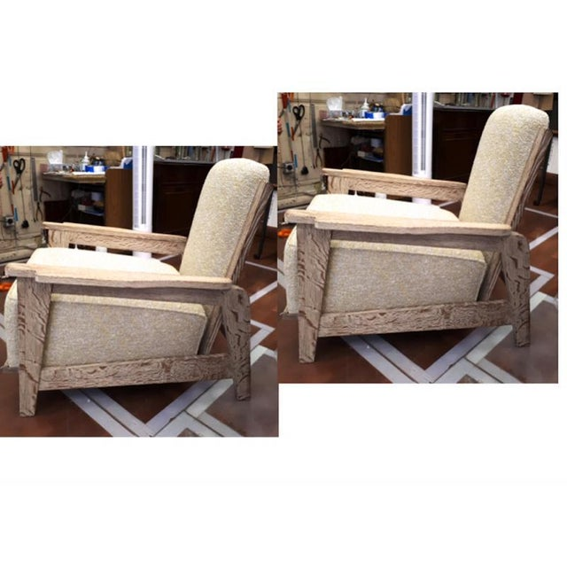 1950s Style of Prouve Cerused Oak Lounge Chairs With Reclining Back For Sale - Image 5 of 7