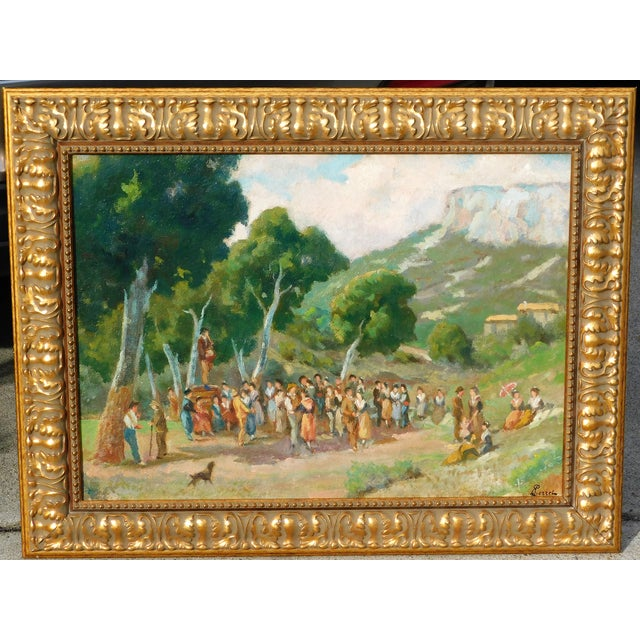 Early 20th Century Early 20th Century Antique Perrell Oil on Board Signed Painting For Sale - Image 5 of 5