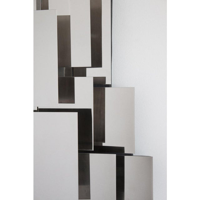 Polished Steel Wall-Light Sculpture or Sconce Attr. Reggiani For Sale - Image 9 of 11