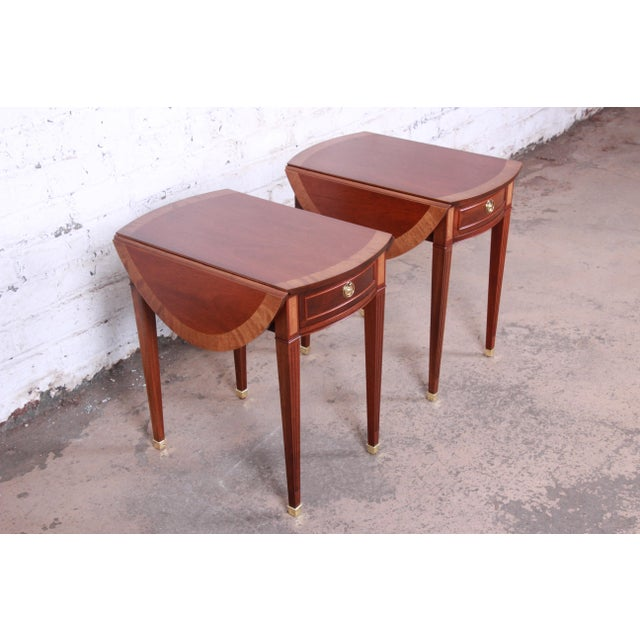 Baker Furniture Company Baker Furniture Georgian Style Banded Mahogany Pembroke Side Tables - a Pair For Sale - Image 4 of 13