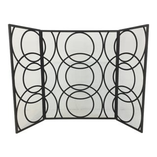 Modern Geometric Black Metal Fireplace Screen For Sale