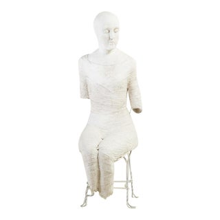 Large Theatrical Plaster Seated Figure Floor Standing Sculpture For Sale