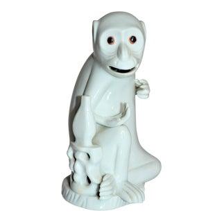 Vintage Italian White Porcelain Monkey Figurine For Sale
