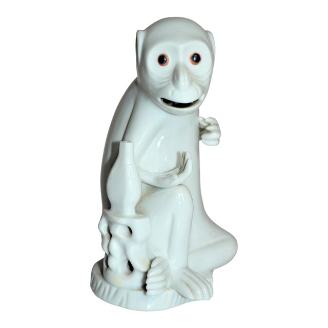 Vintage Italian White Porcelain Monkey Figurine For Sale