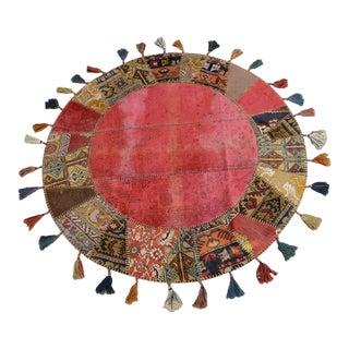 "Turkish Handmade Patchwork Round Area Rug - 5'2"" Diameter For Sale"