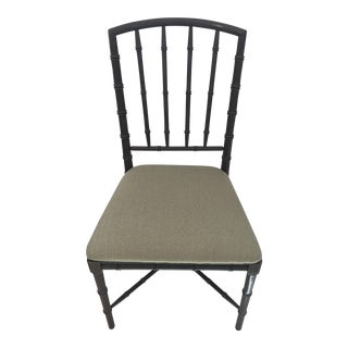 Lacquered Gray Faux Bamboo Painted Chair