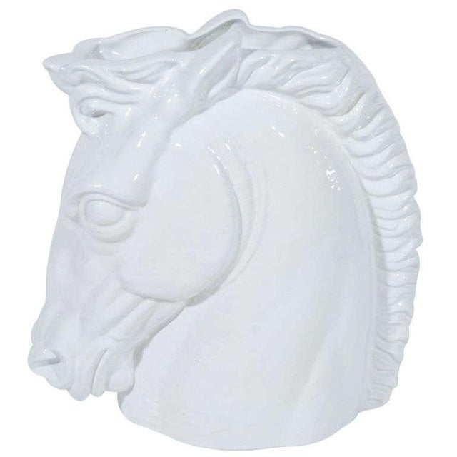 Mid-century modern handcrafted blanc de chine ceramic horse head sculpture with white glaze finish. Also functions as...