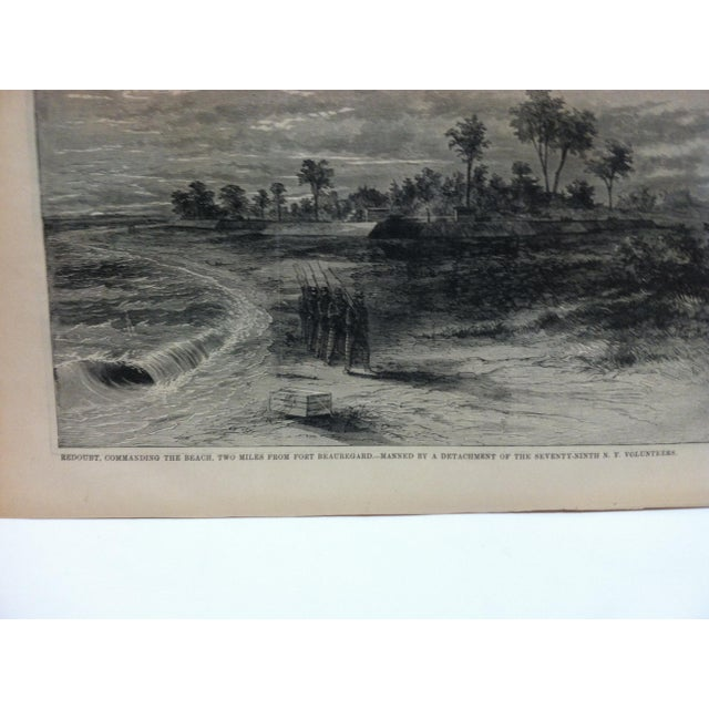 """American Late 19th Century Antique """"Redoubt Commanding the Beach Two Miles From Fort Beauregard"""" Pictorial Battles of the Civil War Print For Sale - Image 3 of 4"""