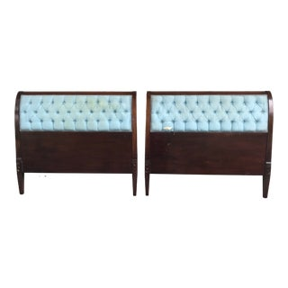 Walnut and Upholstered Twins Beds by Baker Furniture - a Pair For Sale
