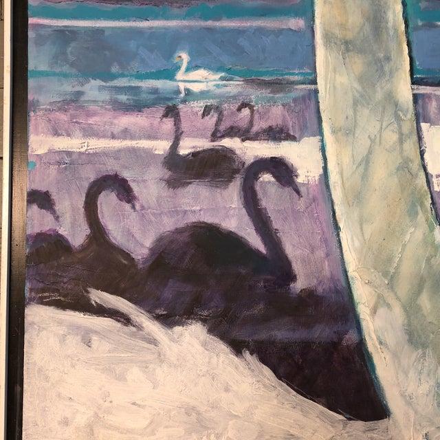 Large Vintage Original Modernist Swan Painting For Sale - Image 4 of 9
