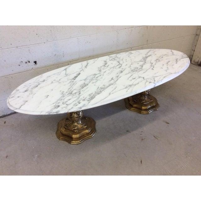 fuggiti studios italian carrara marble gold gilt coffee table chairish. Black Bedroom Furniture Sets. Home Design Ideas