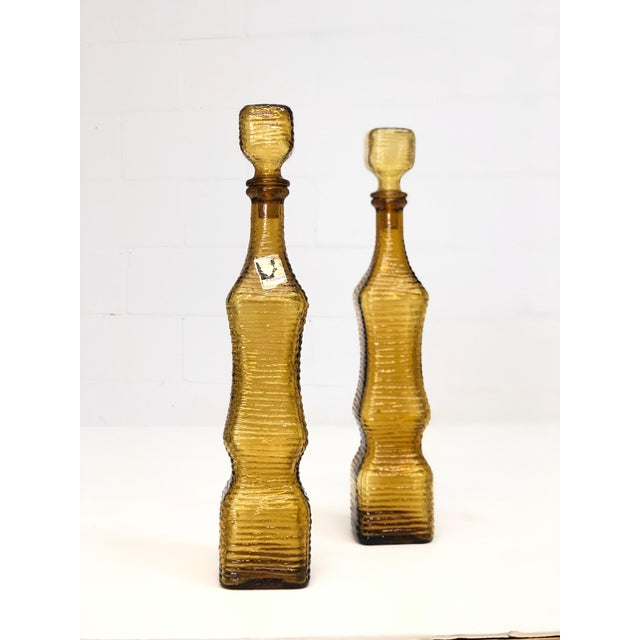 Mid Century Modern Art Glass Textured Decanters in Amber Made in Italy For Sale - Image 4 of 6