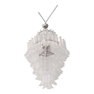 1960s Large Italian Multi Tiered Murano Glass Chandelier For Sale