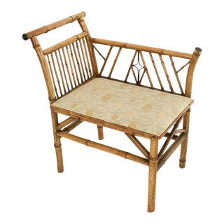 English Bamboo Upholstered Bench Seat For Sale