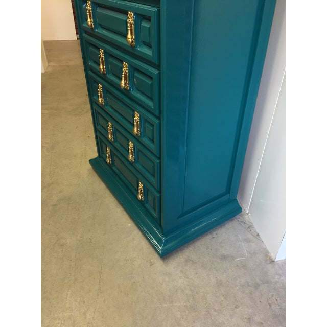 Green 1970s Mid-Century Modern United Furniture Jade Green Lacquered High Boy Dresser For Sale - Image 8 of 9