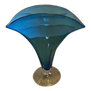Blenko Handblown Fanned Art Glass Vase For Sale