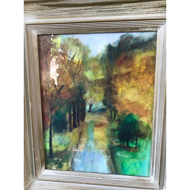 Vintage Framed Fall Park Scene Watercolor For Sale - Image 4 of 5